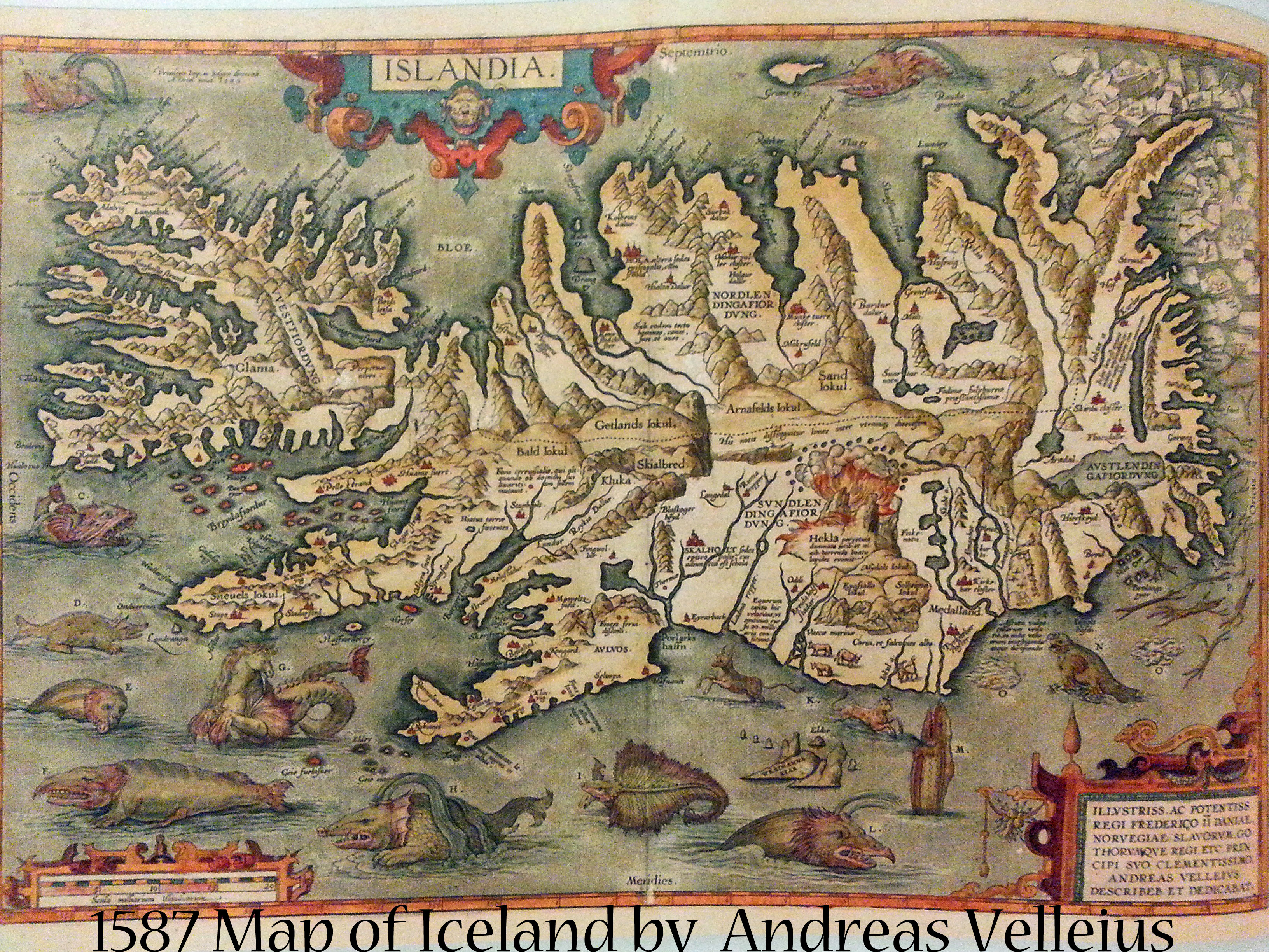 1587 Iceland Map by Andreas Velleius | Book Addicts