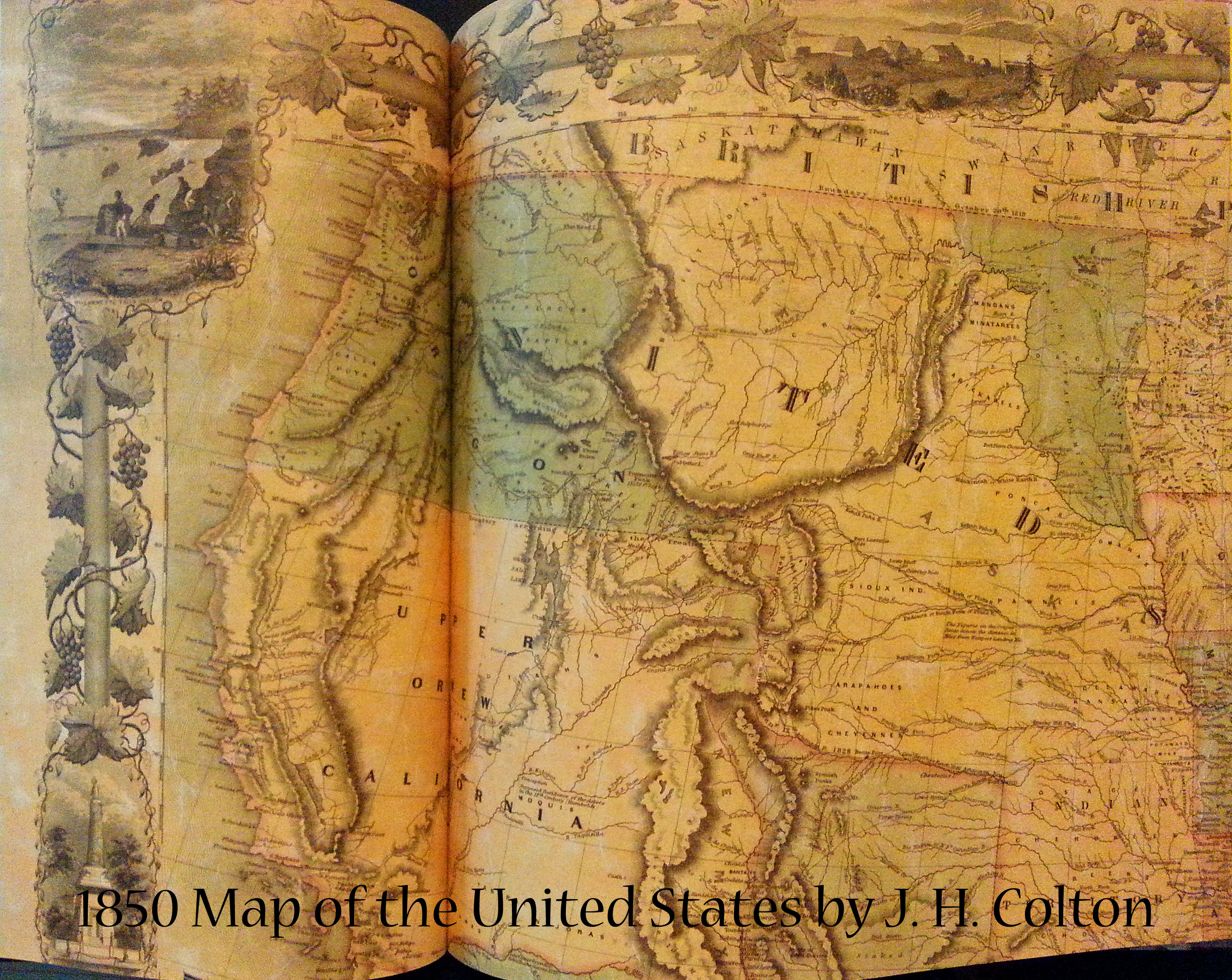 1850 Map of the United States by J H Colton | Book Addicts
