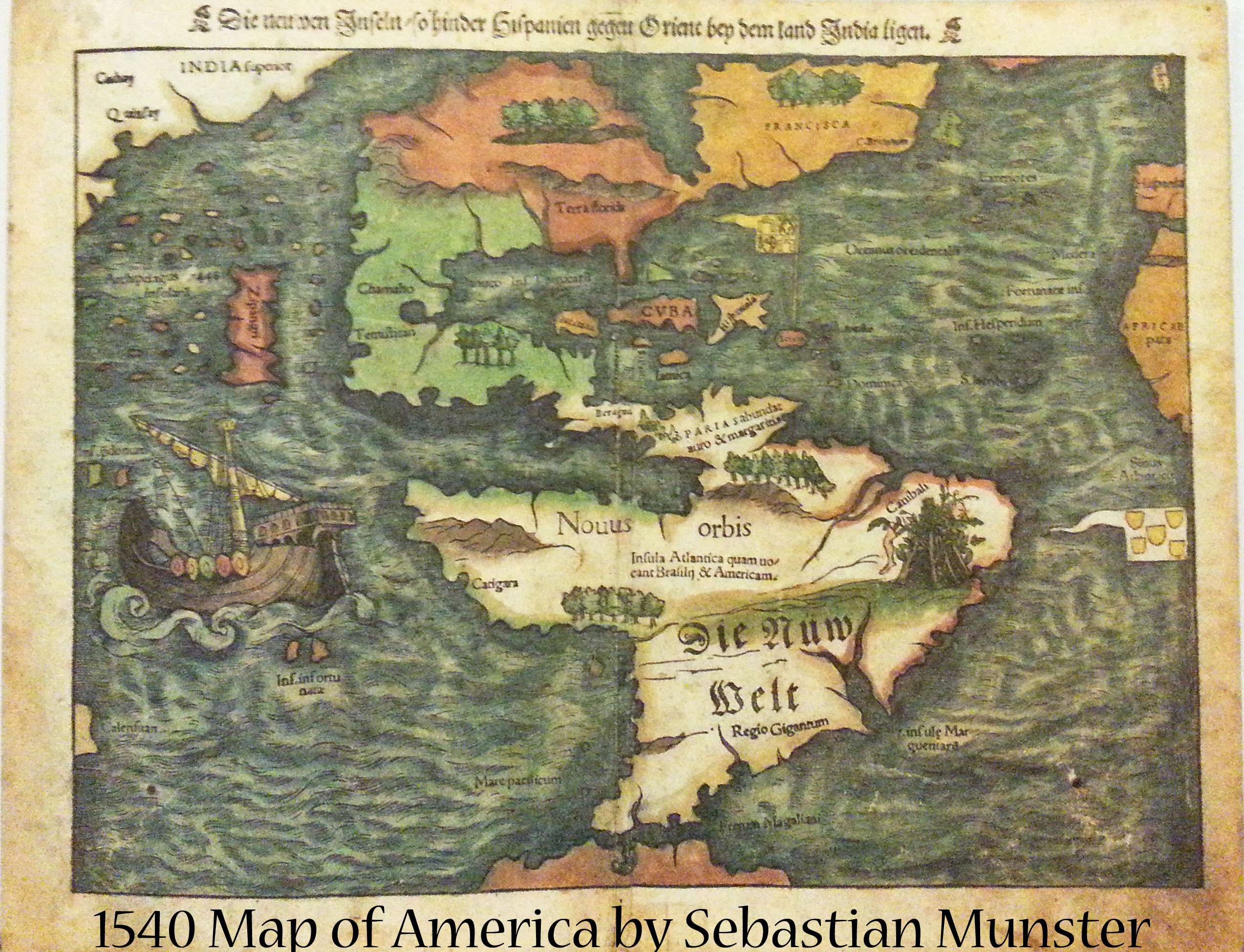 1540 America Map by Sebastian Munster | Book Addicts