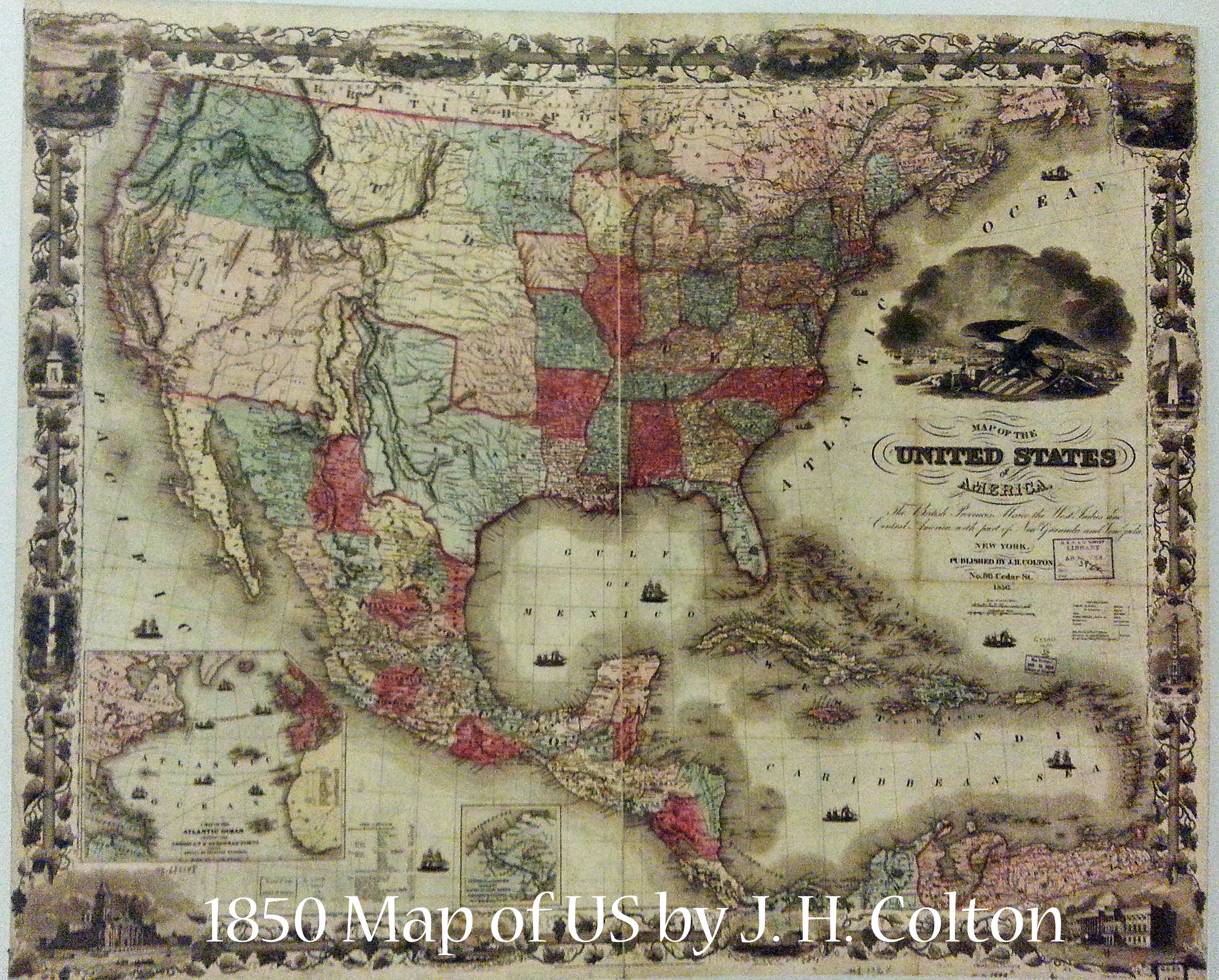 1850 US Map by J H Colton | Book Addicts